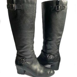 Franco Sarto Knee High Black Heeled Boots